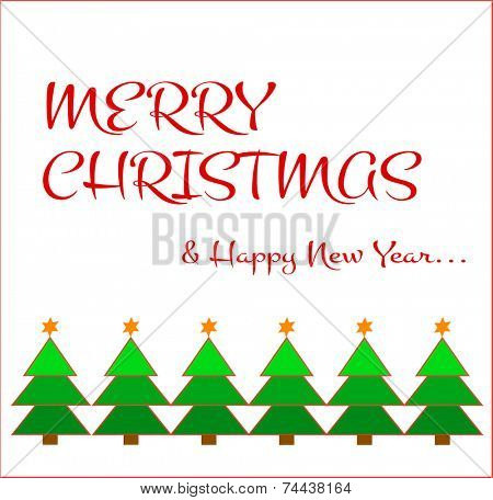 Green christmas tree display and merry christmas message on a white background.