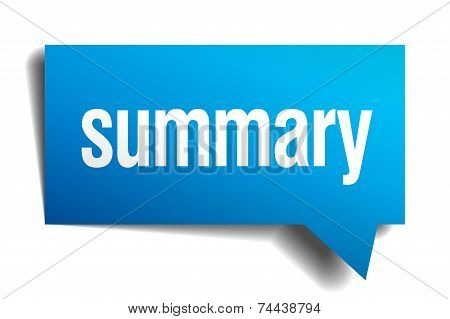 Summary Blue 3D Realistic Paper Speech Bubble