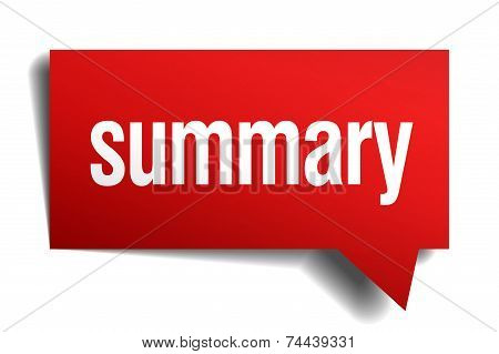 Summary Red 3D Realistic Paper Speech Bubble