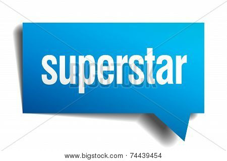 Superstar Blue 3D Realistic Paper Speech Bubble