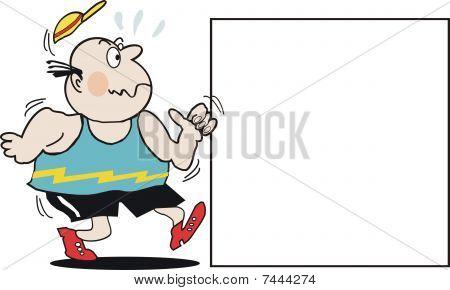 Overweight jogger cartoon