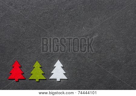 Slate board with three felt christmas trees