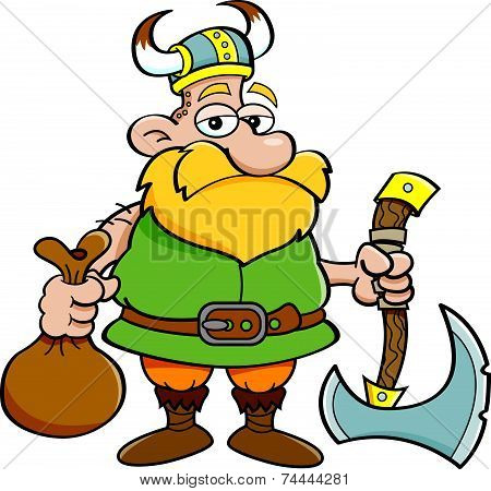 Cartoon Viking Holding an Axe