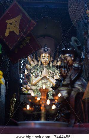 SAIGON (HO CHI MINH CITY), VIETNAM - JANUARY  2014: Buddha statue in Jade Pagoda