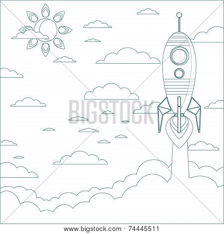 Stock Vector Illustration of a Cartoon Flying Rocket . Contour