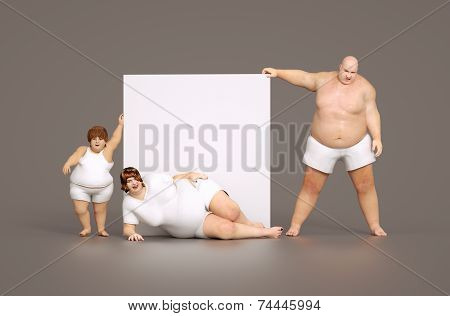 Fat Family With Empty Sign