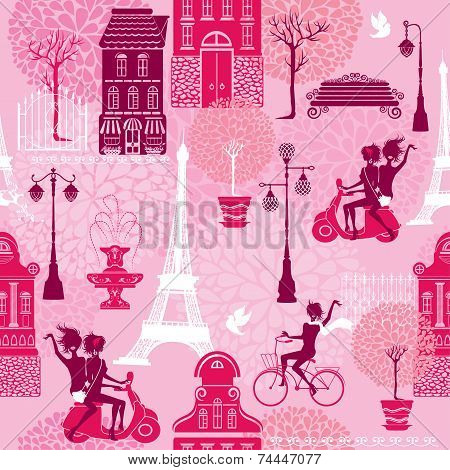 Seamless Pattern With Girls Riding On Scooter And Bicycle, Houses Silhouettes And Town Landscape Wit
