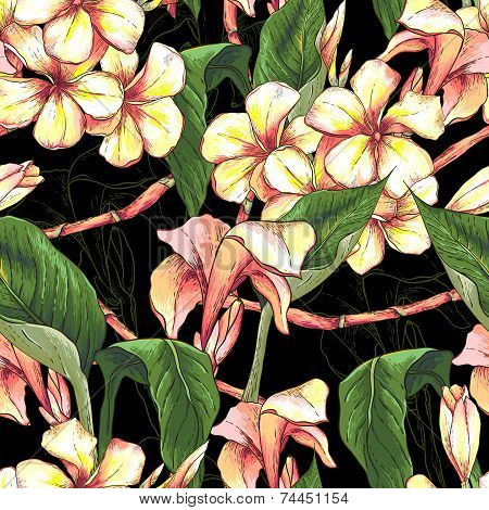 Tropical seamless pattern with exotic flowers.