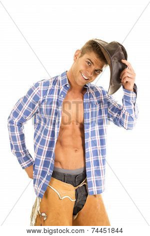 Cowboy Blue Plaid Shirt Hold Hat Look Smile