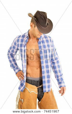 Cowboy Blue Plaid Shirt Look Down Hand Down