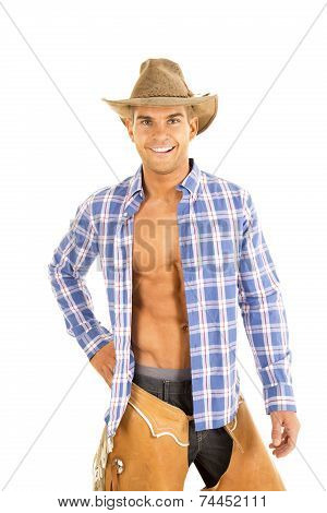 Cowboy Blue Plaid Shirt Open Smile