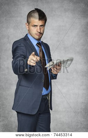 Businessman With A Funny Haircut Pointing To You
