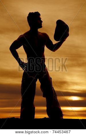 Silhouette Cowboy No Shirt Look Side Hat Out