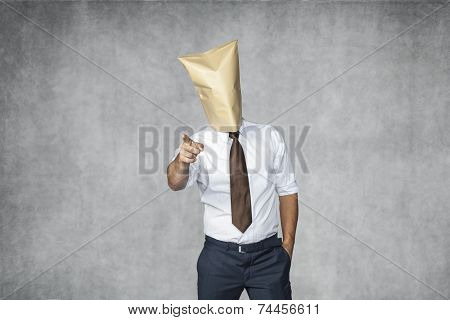 Incognito Businessman Pointing To You