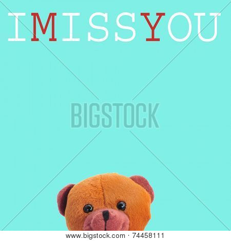 a teddy bear and the text I miss you on a blue background