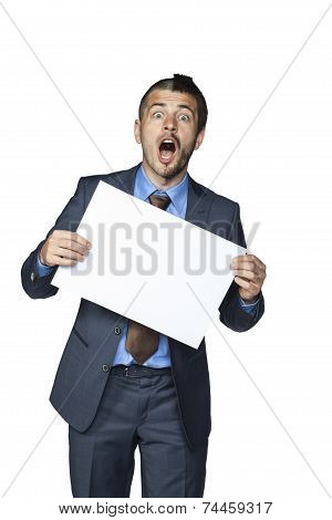 Businessman With A Funny Haircut Holding A Piece Of Paper