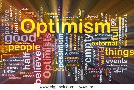 Nube de palabra de optimismo que brilla intensamente