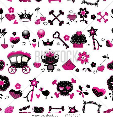 aggressive style fashion seamless pattern in black, pink and red
