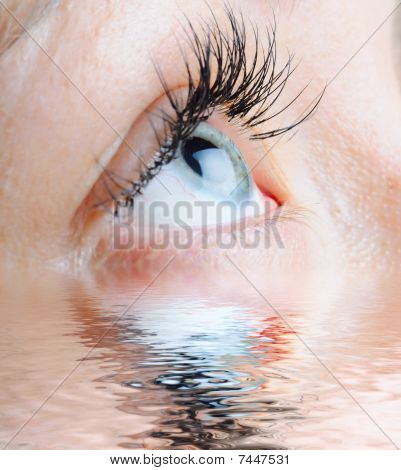 Female Eye With Long Eyelashes Reflected By Water
