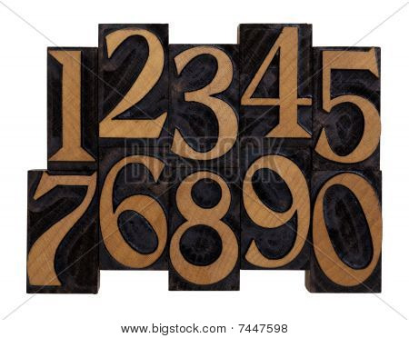 Numbers In Vintage Wood Letterpress Types