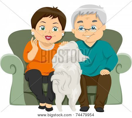 Illustration Featuring an Elderly Couple Petting Their Dog