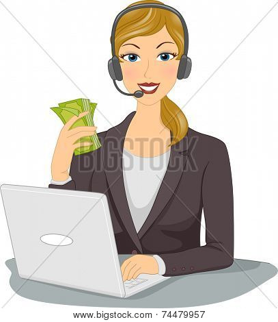 Illustration Featuring a Woman Doing Business From Home