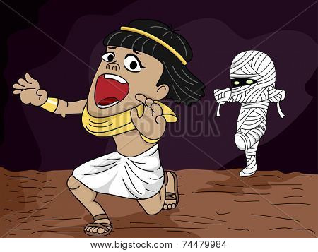 Illustration Featuring an Egyptian Man Being Chased by a Mummy