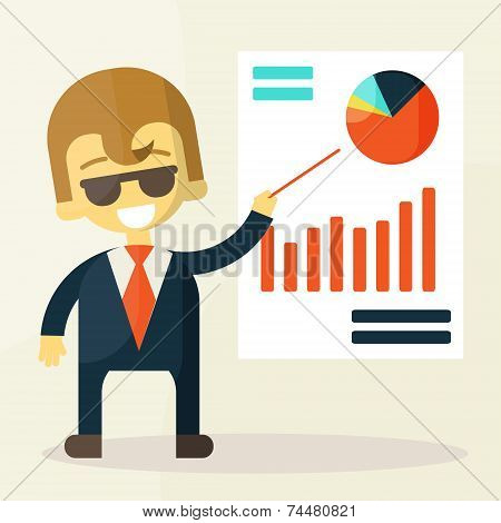 Businessman looking at the graph