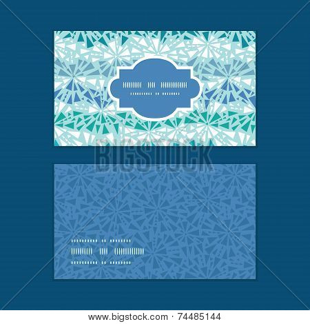 Vector abstract ice chrystals texture horizontal frame pattern business cards set