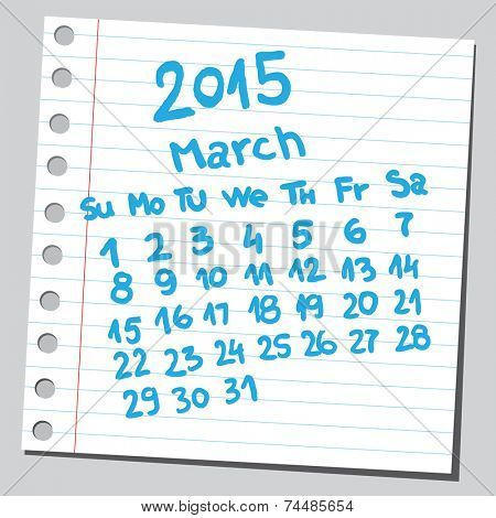 Calendar 2015 march (sketch style)