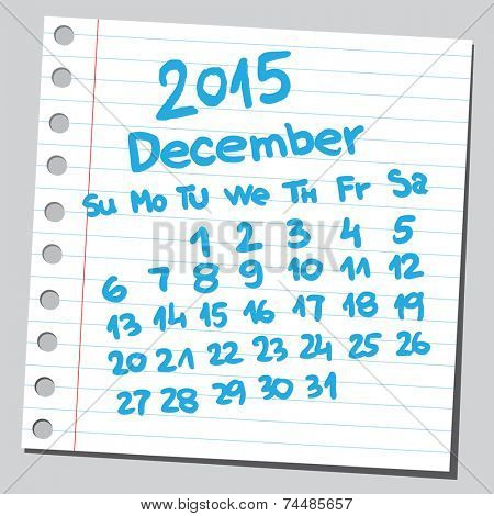 Calendar 2015 december (sketch style)