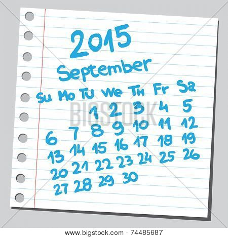 Calendar 2015 september  (sketch style)