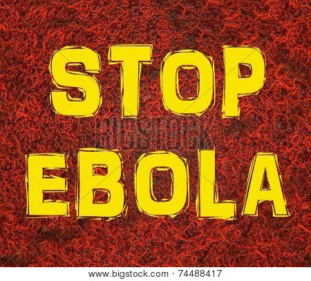 Stop Ebola text on blood vessel background