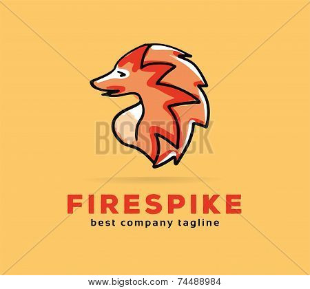 Abstract vector spike monster logo icon concept. Logotype template for branding and corporate design