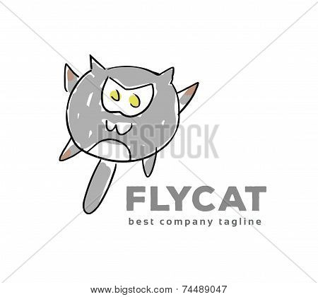 Abstract vector cat monster logo icon concept. Logotype template for branding and corporate design