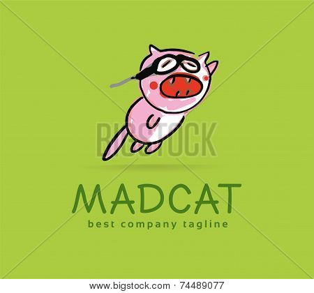 Abstract vector mad cat monster logo icon concept. Logotype template for branding and corporate desi