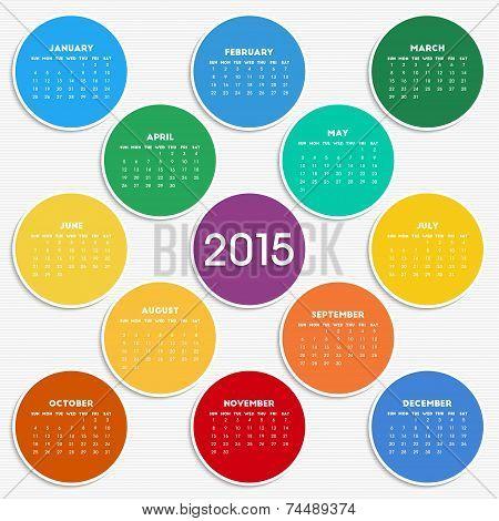 2015 Calendar In Seasonal Colors