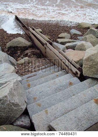 Beach Groin And Steps Seascape