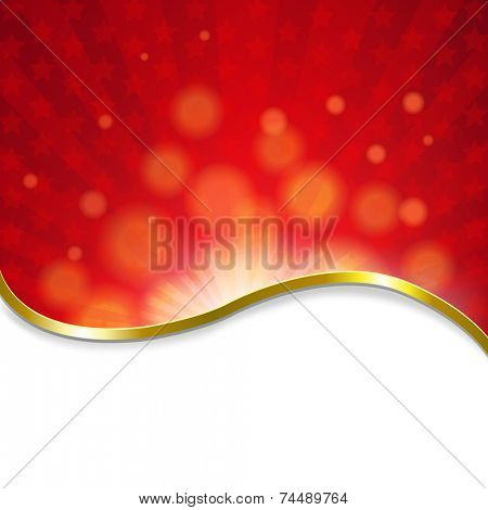 Red Sunburst Poster With Gradient Mesh, Vector Illustration