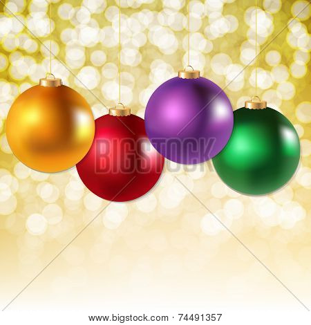 Xmas Sale Poster With Bokeh With Gradient Mesh, Vector Illustration