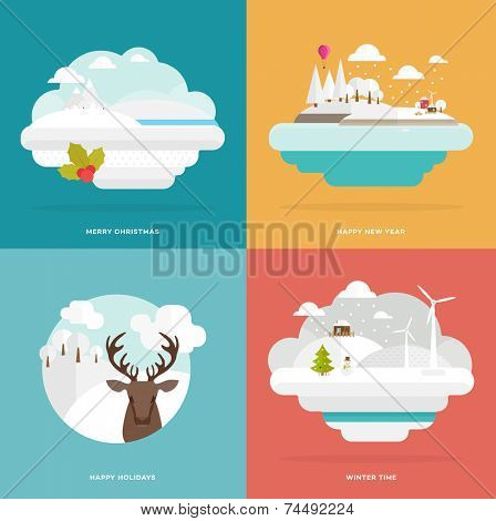 Flat Style Snowing Town Vector. Set for Winter and Xmas Holidays Design. Christmas Tree and Snowman. Winter Icons. Winter Forest, Landscape and Deer Head.  Snow-capped Mountains and Hills.