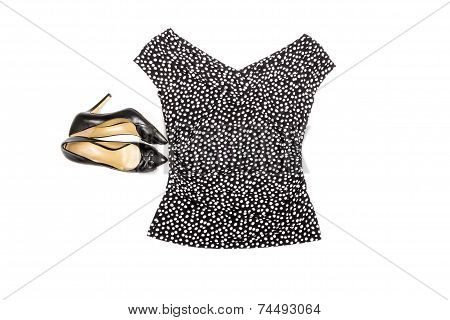 Fashion Top and High Heel Shoes Isolated