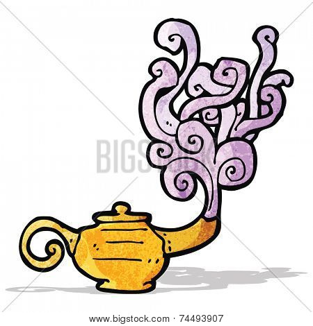 cartoon genie in lamp