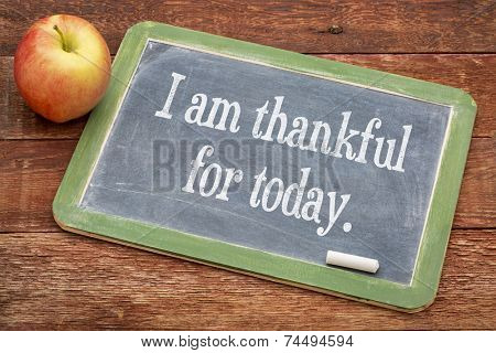 I am thankful for today - positive words on a slate blackboard against red barn wood