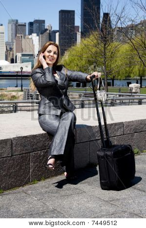 Traveling Business Woman On Phone