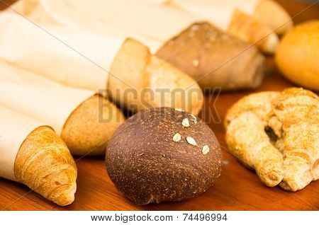 Closeup delicious varities of fresh bread