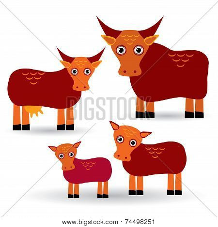 Cow, Bull And Two Calves. Set Of Funny Animals With Cubs On White Background. Vector