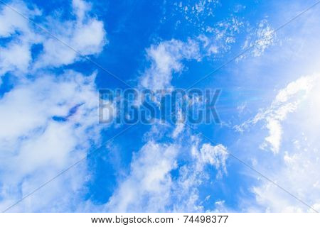 Blue sky with white clouds in Okinawa, background stock photo