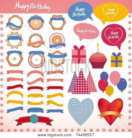 Set Of Vintage Elements, Birthday Holiday Party Pink, Blue, Orange. Vector