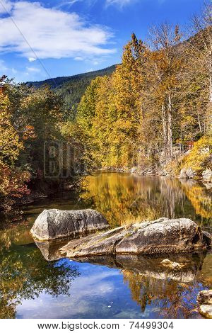 Fall Colors Orange Fire Reflection Wenatchee River Valley Near Stevens Pass Leavenworth Washington